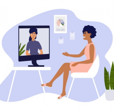Video call, networking or conference with business partner. Online course, studying or education. Hiring, job interview, employment. Women talk by computer. Home office, work place vector illustration
